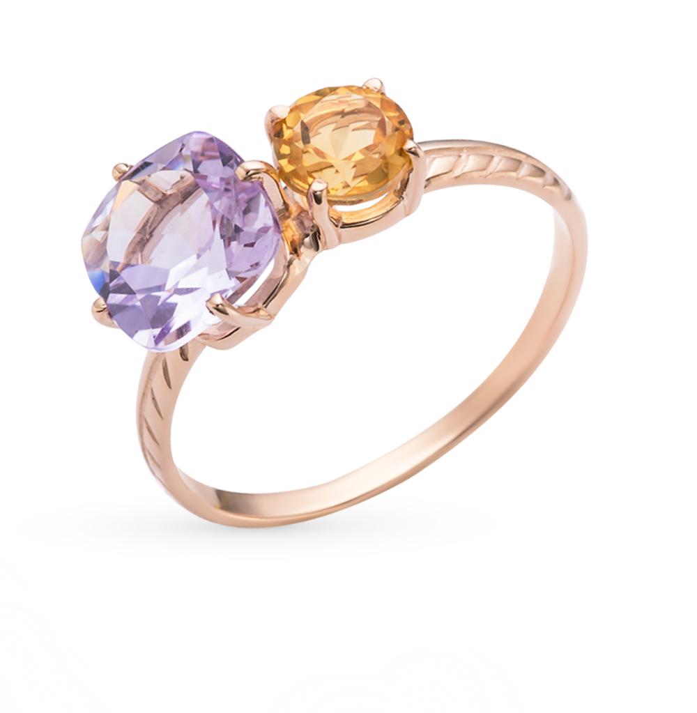 Фото «золотое кольцо с аметистом и цитринами»