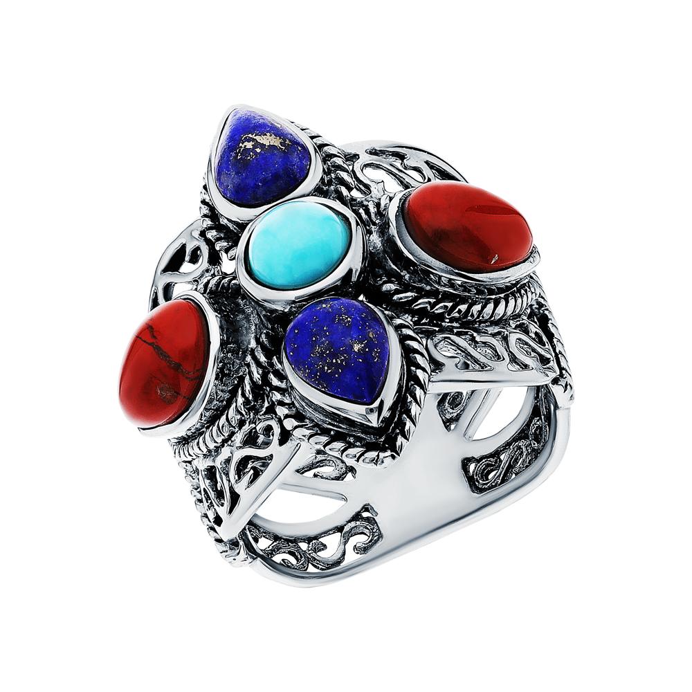 Серебряное кольцо с яшмой, бирюзой и лазуритом в Екатеринбурге