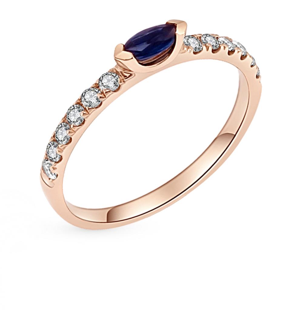 Фото «Золотое кольцо с сапфиром и бриллиантами»