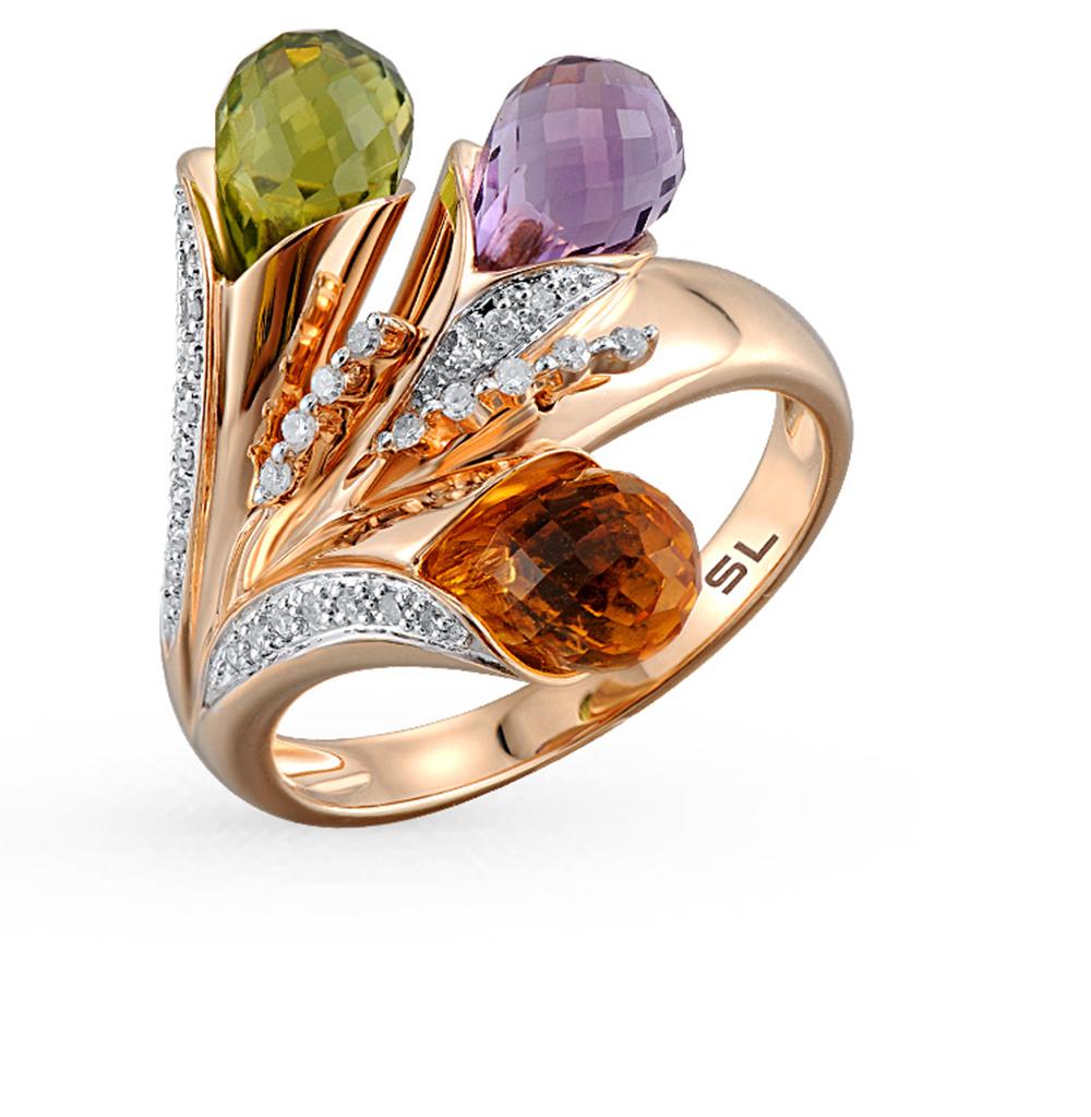 Фото «золотое кольцо с аметистом, хризолитом и бриллиантами»
