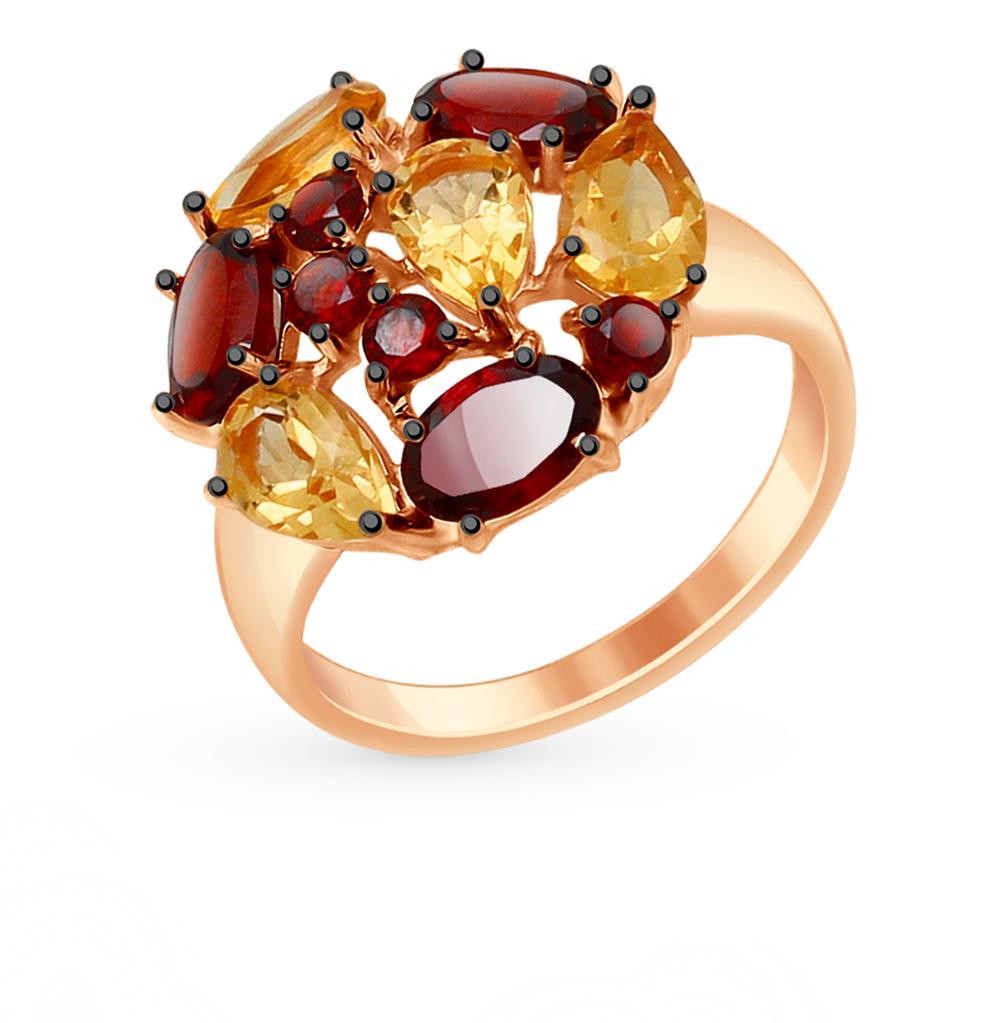 серебряное кольцо с фианитами и гранатом SOKOLOV 92011426