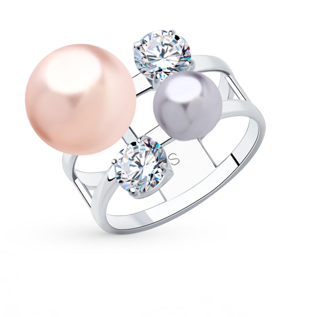 серебряное кольцо с фианитами и жемчугом SOKOLOV 94013049