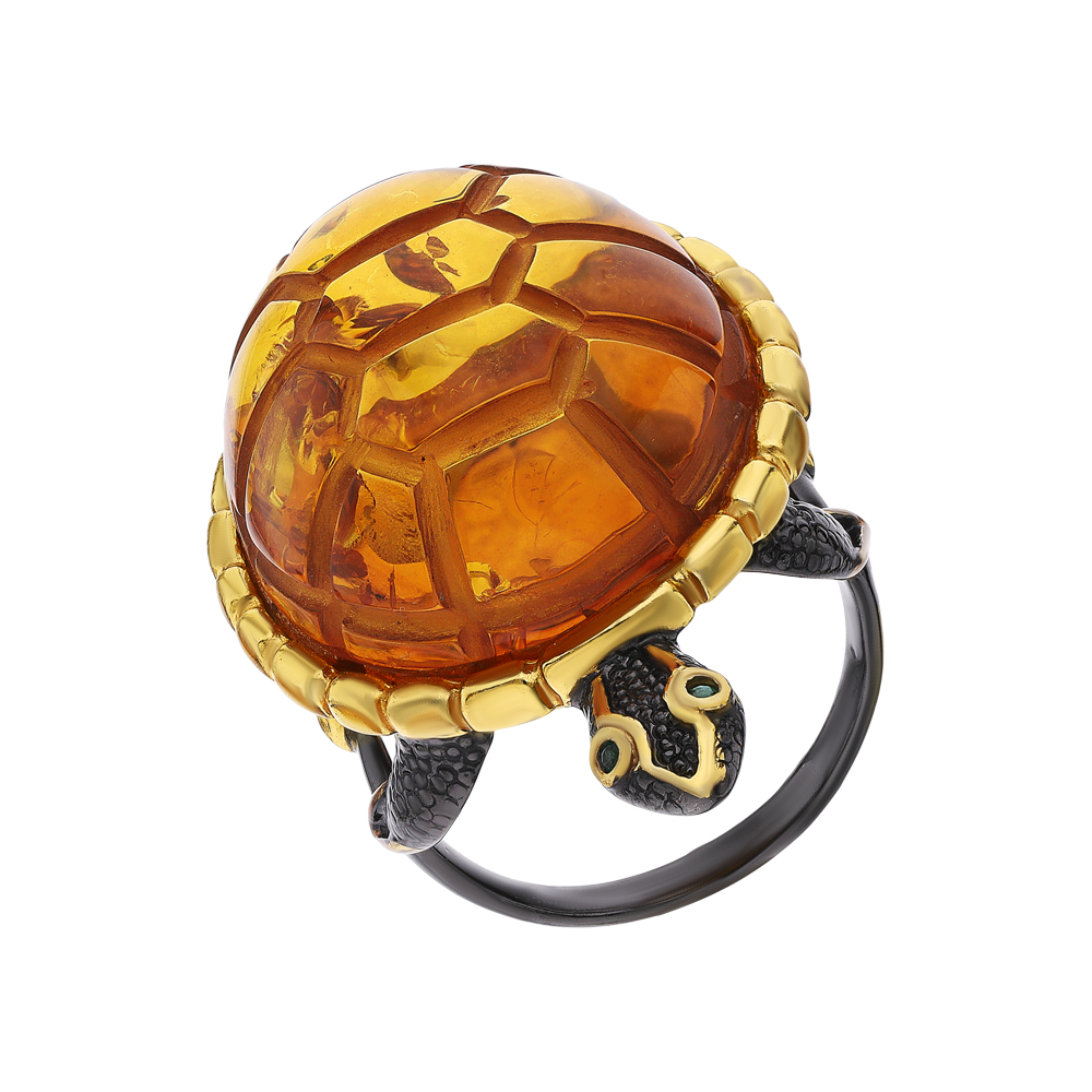Фото «Серебряное кольцо с изумрудами и янтарем»