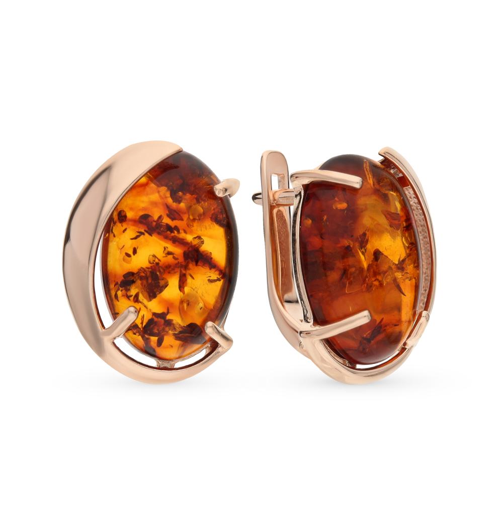 серебряные серьги с янтарем SOKOLOV 93020624