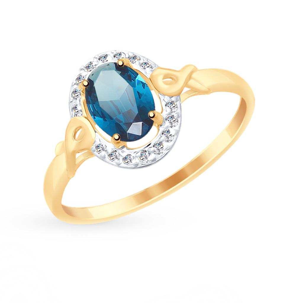 Фото «Золотое кольцо с топазами и фианитами SOKOLOV 715071*»
