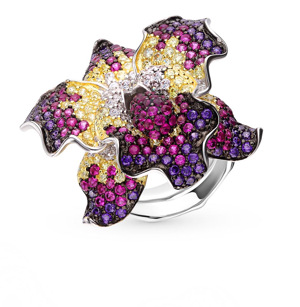 серебряное кольцо с корундом, фианитами и кубическими циркониями