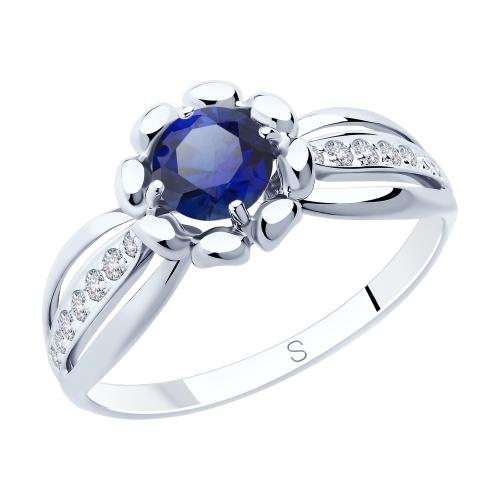 Фото «Серебряное кольцо с корундом и фианитами SOKOLOV 88010065»