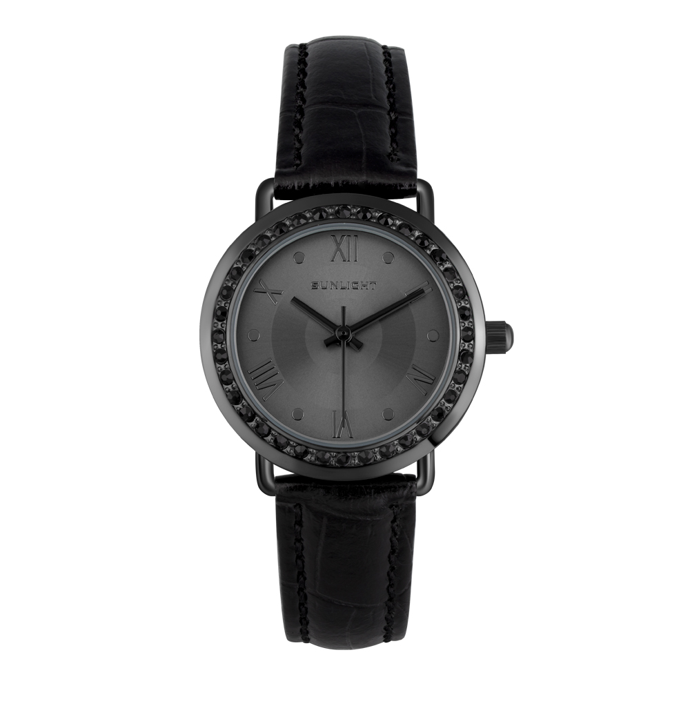 Женские часы с кристаллами на кожаном ремне