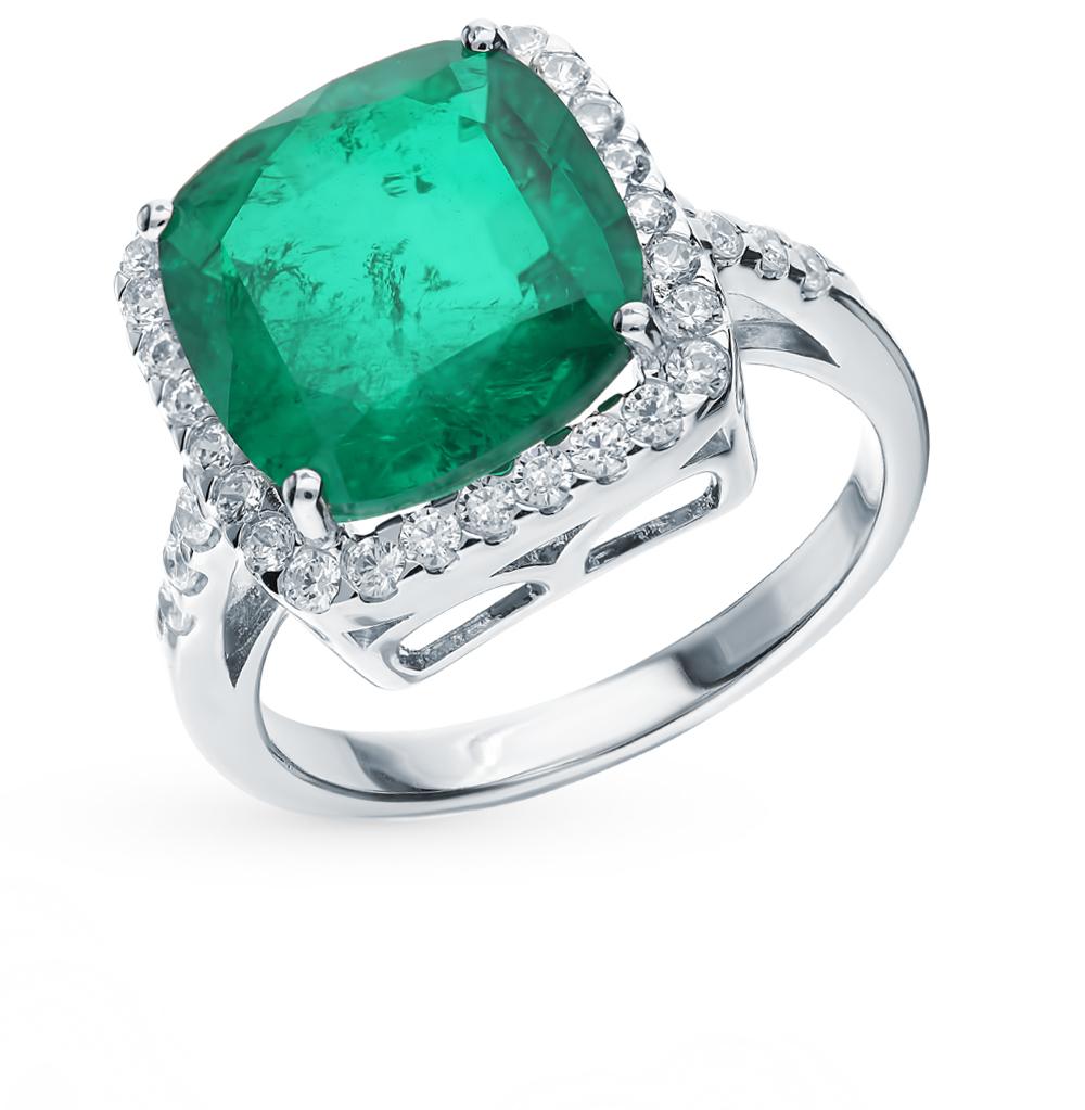 Серебряное кольцо с фианитами и изумрудом