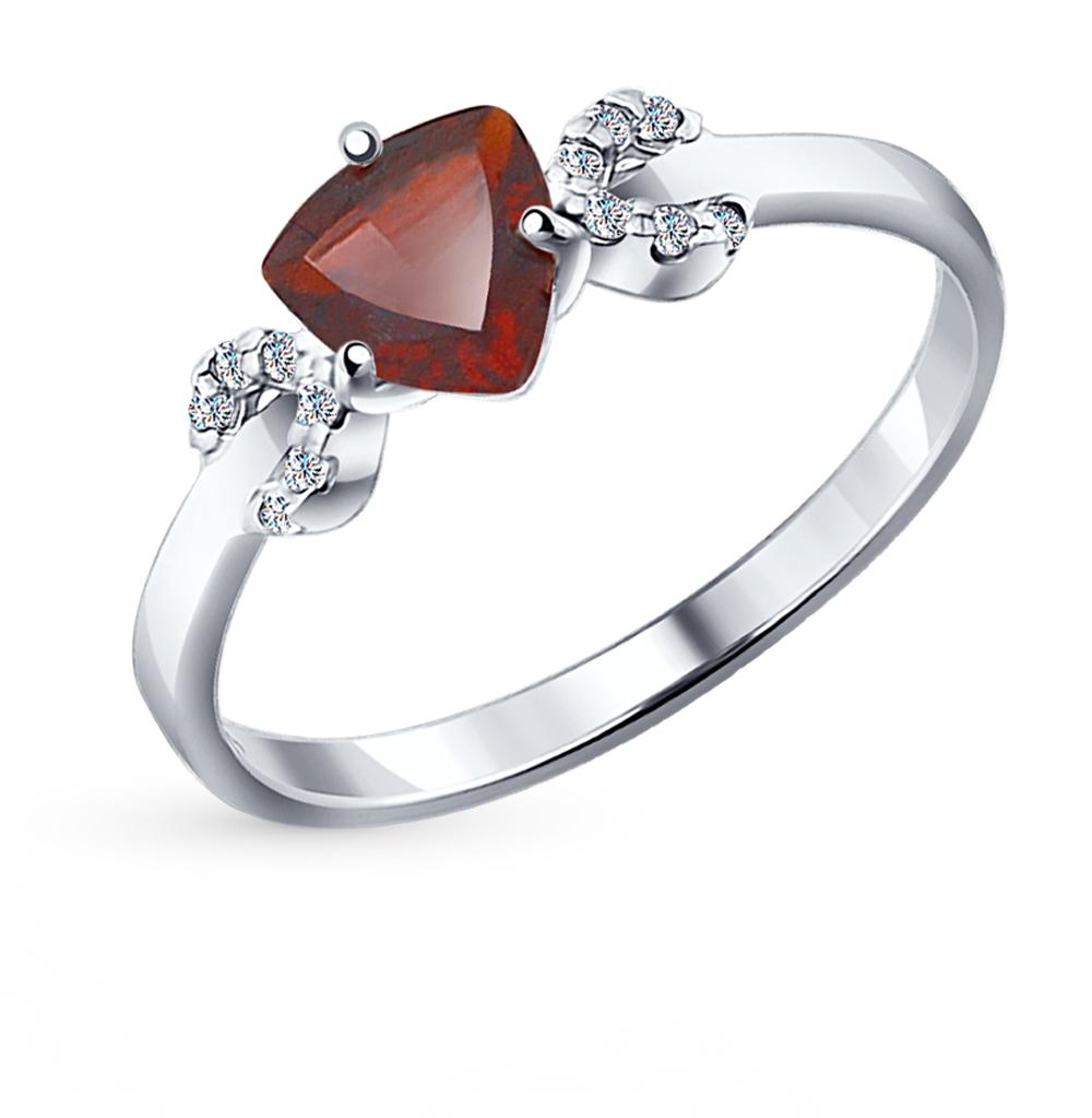 Фото «Серебряное кольцо с фианитами и гранатом SOKOLOV 92011040»