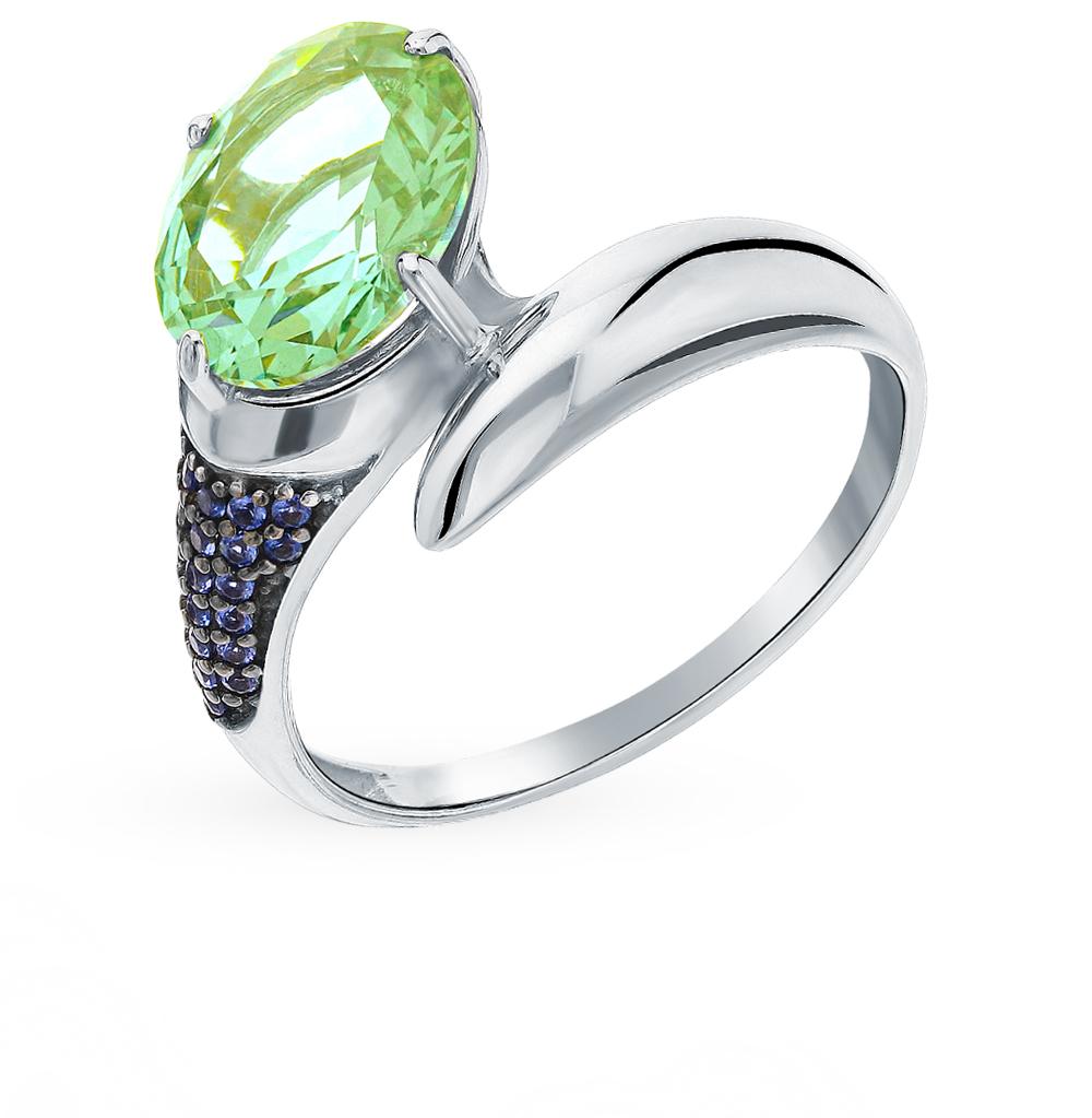 серебряное кольцо с турмалинами и сапфирами