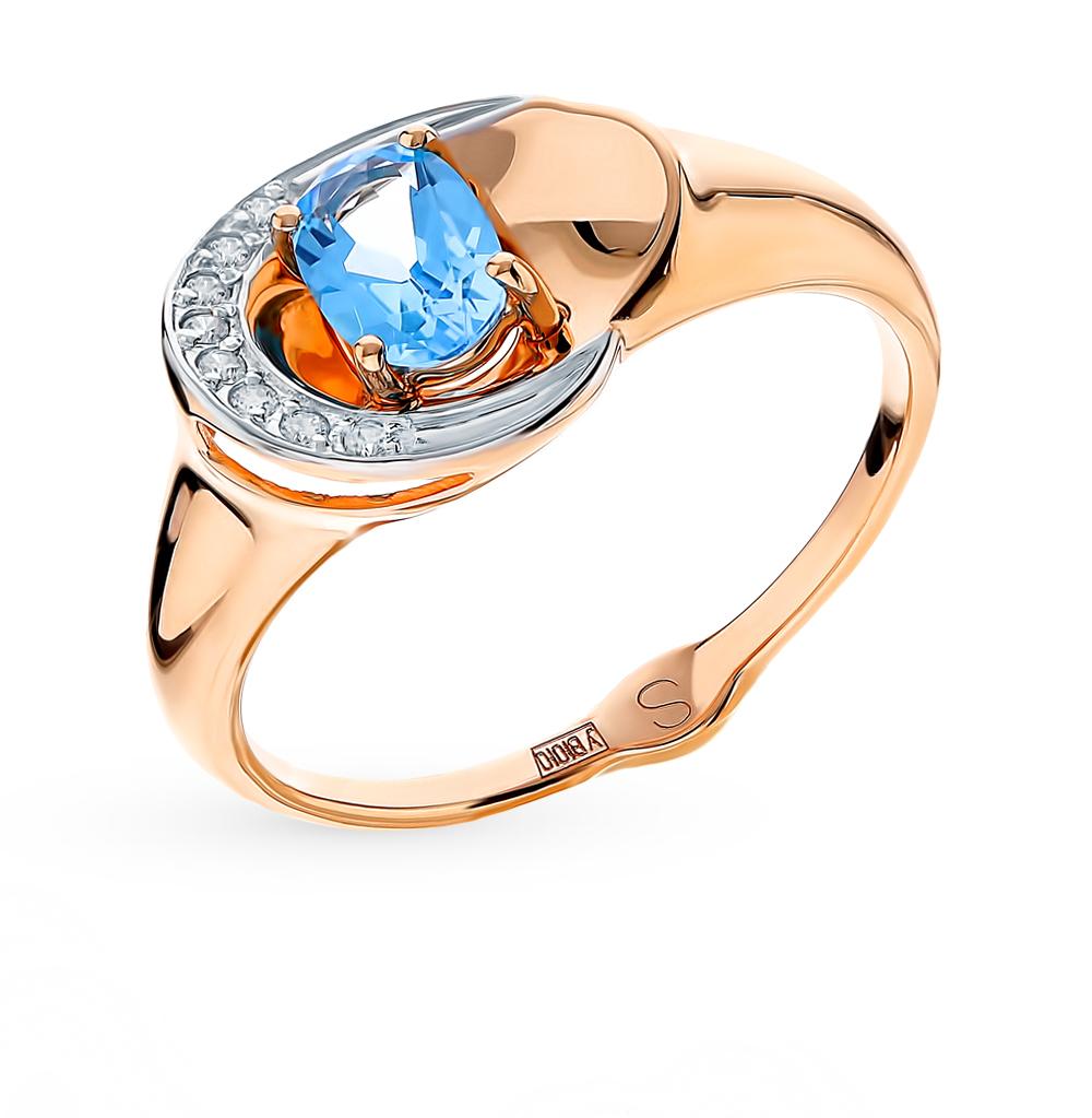золотое кольцо с топазами и фианитами SOKOLOV 715131*