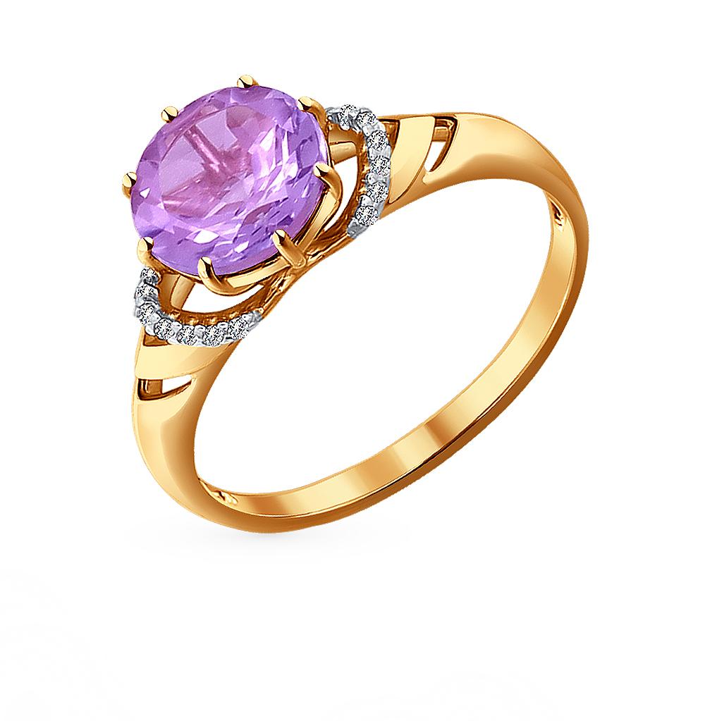 Фото «Золотое кольцо с аметистом и фианитами SOKOLOV 714014*»