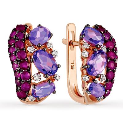 Фото «золотые серьги с аметистом, рубинами и бриллиантами»