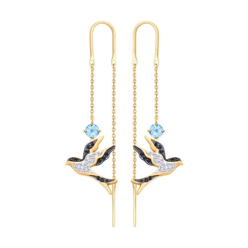 Фото «Золотые серьги с топазами и фианитами SOKOLOV 725424*»