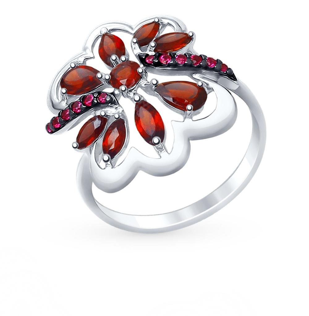 серебряное кольцо с фианитами и гранатом SOKOLOV 92011401