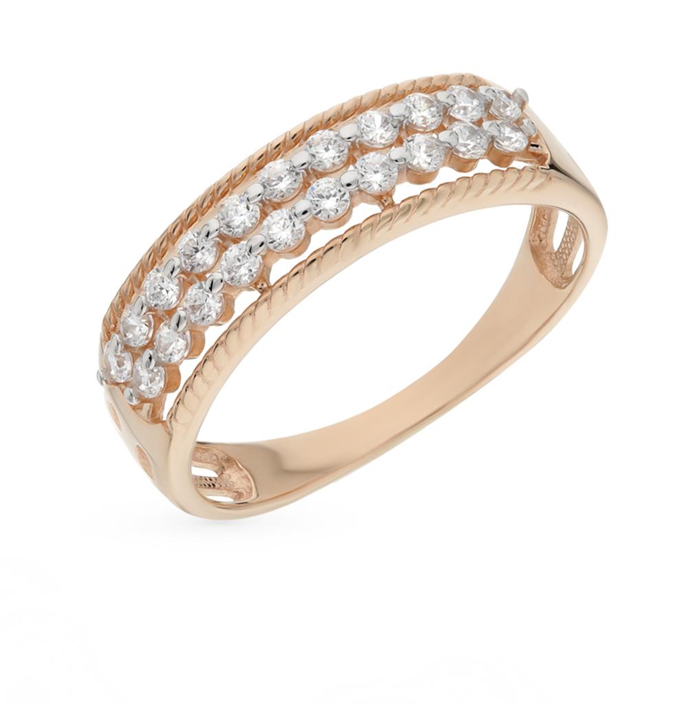 золотое кольцо с фианитами SOKOLOV 015923