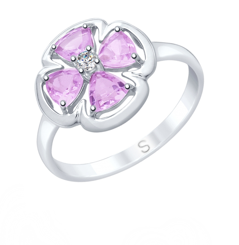 Фото «Серебряное кольцо с аметистом и фианитами SOKOLOV 92011750»