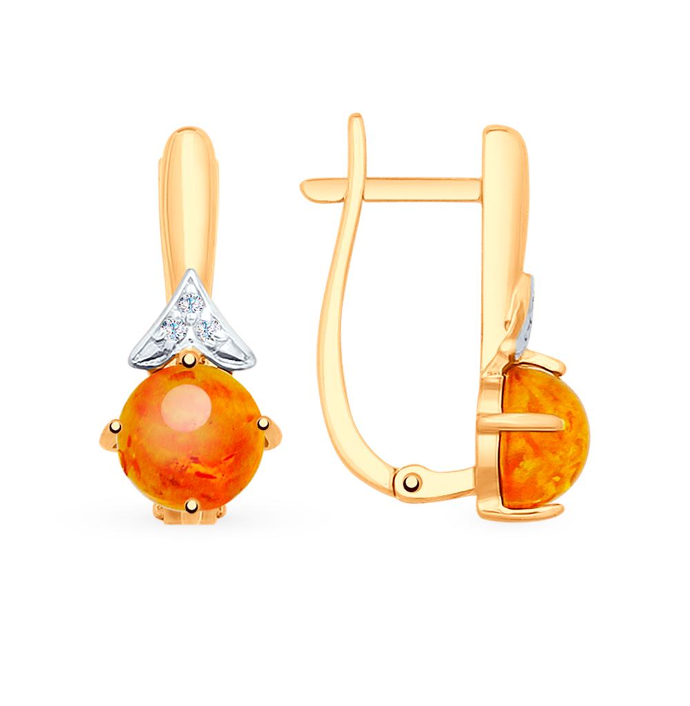 золотые серьги с фианитами и янтарем SOKOLOV 725483*