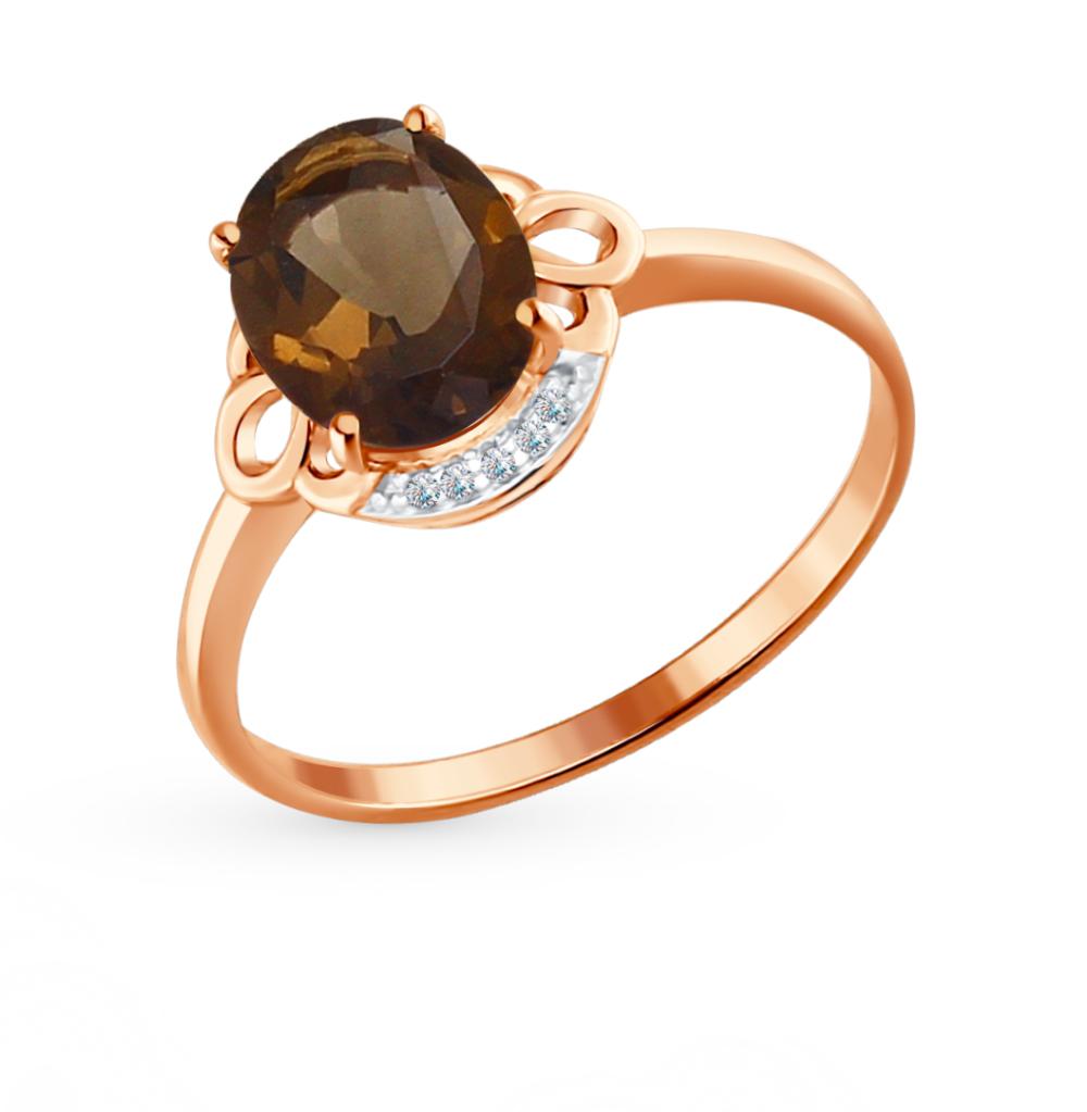 Фото «Золотое кольцо с раухтопазами и фианитами SOKOLOV 713959*»