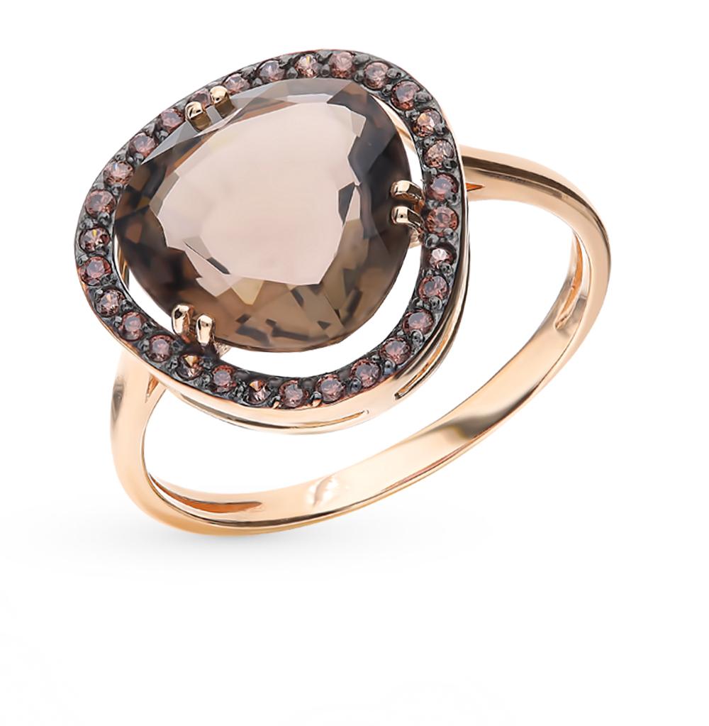 Фото «Золотое кольцо с раухтопазом и фианитами»