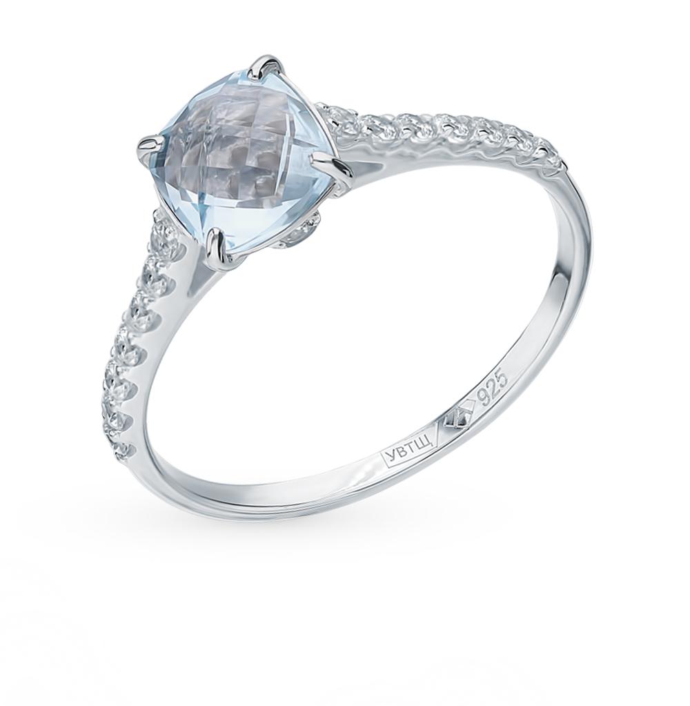 Серебряное кольцо с топазом и фианитами в Санкт-Петербурге
