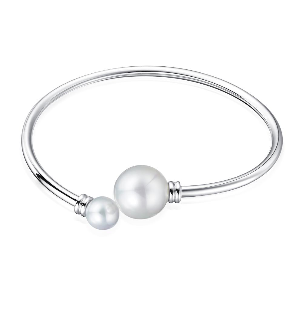 Фото «серебряный браслет с жемчугом и жемчугами имитациями»