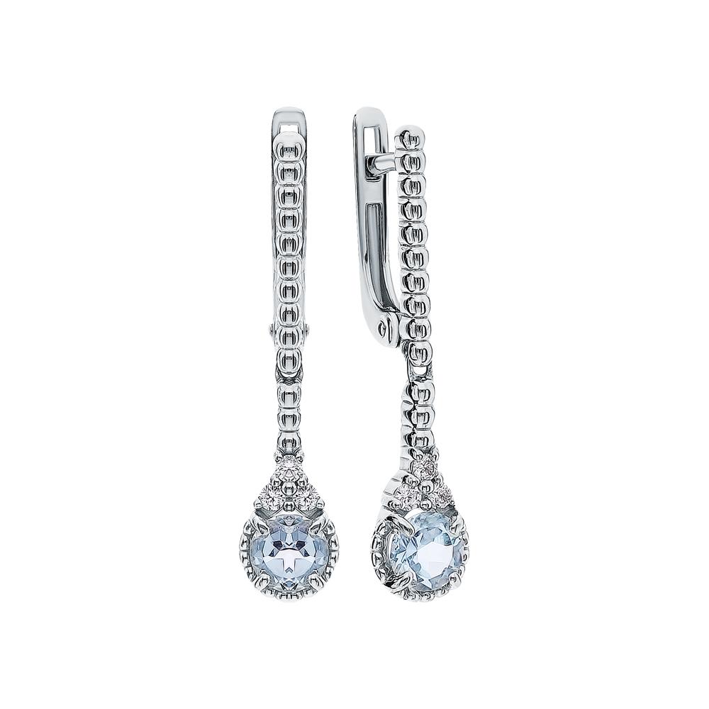 Фото «Серебряные серьги с топазами и фианитами»