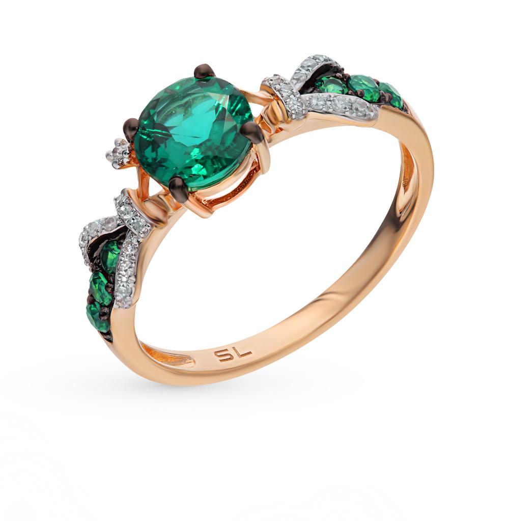 Золотое кольцо с изумрудами гидротермальными и бриллиантами в Екатеринбурге