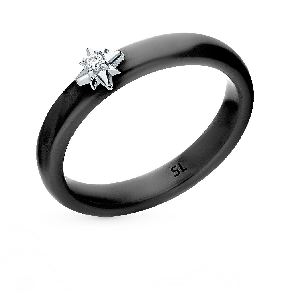 керамическое кольцо с керамикой и фианитами