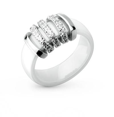 Фото «кольцо из керамики и серебра с серебром и фианитами»