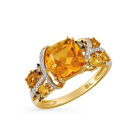 Фото «золотое кольцо с коньячными бриллиантами, цитринами и бриллиантами»