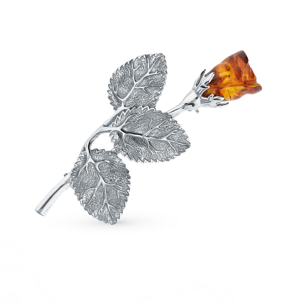 Серебряная брошь с янтарем в Екатеринбурге