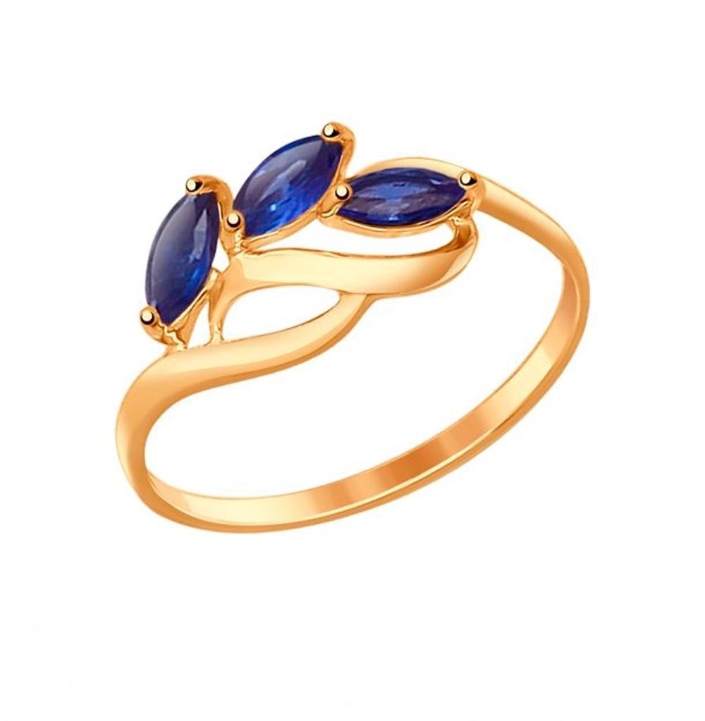 Золотое кольцо с сапфирами и корундом SOKOLOV 714605* в Санкт-Петербурге