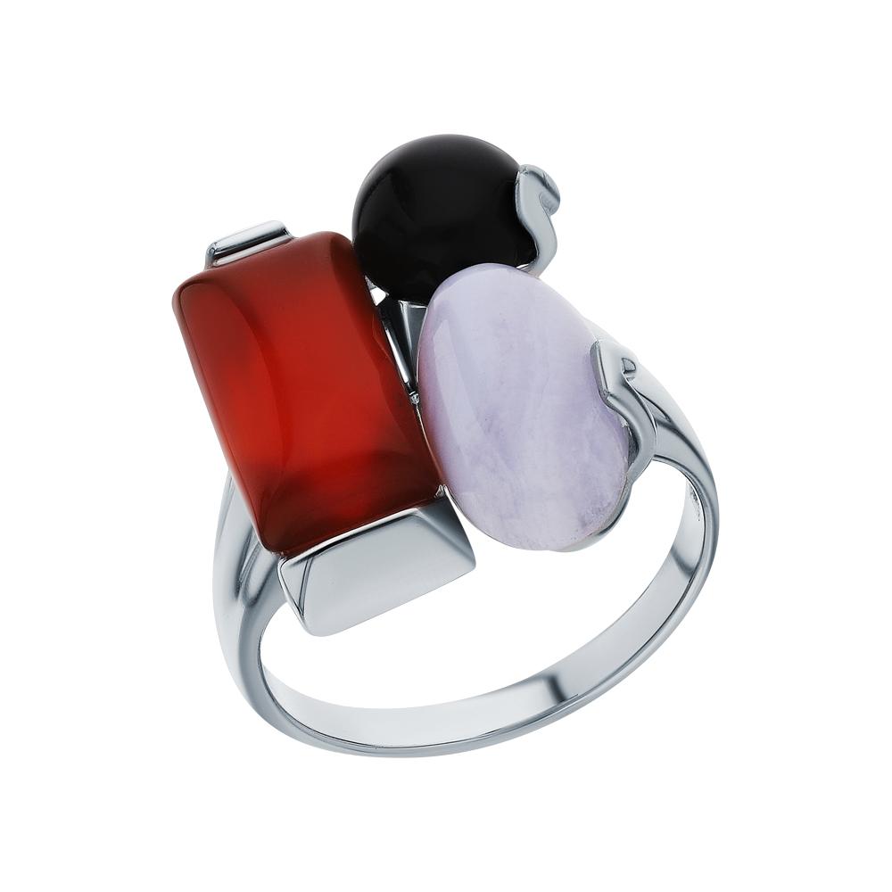 Фото «Серебряное кольцо с сердоликом, агатом и сапфиринами»