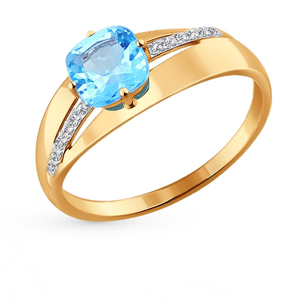 золотое кольцо с топазами и фианитами SOKOLOV 714217*