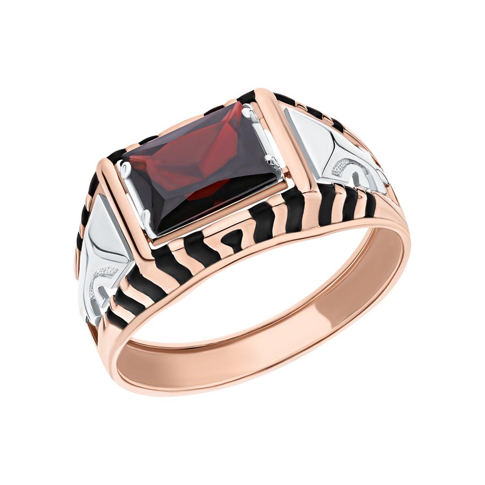 Фото «Золотое кольцо с гранатом и эмалью»