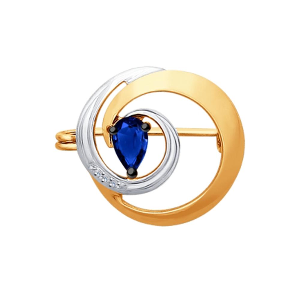 золотая брошь с сапфирами и бриллиантами SOKOLOV 2040020