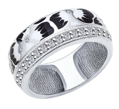 Фото «Серебряное кольцо с фианитами и эмалью SOKOLOV 94011995»