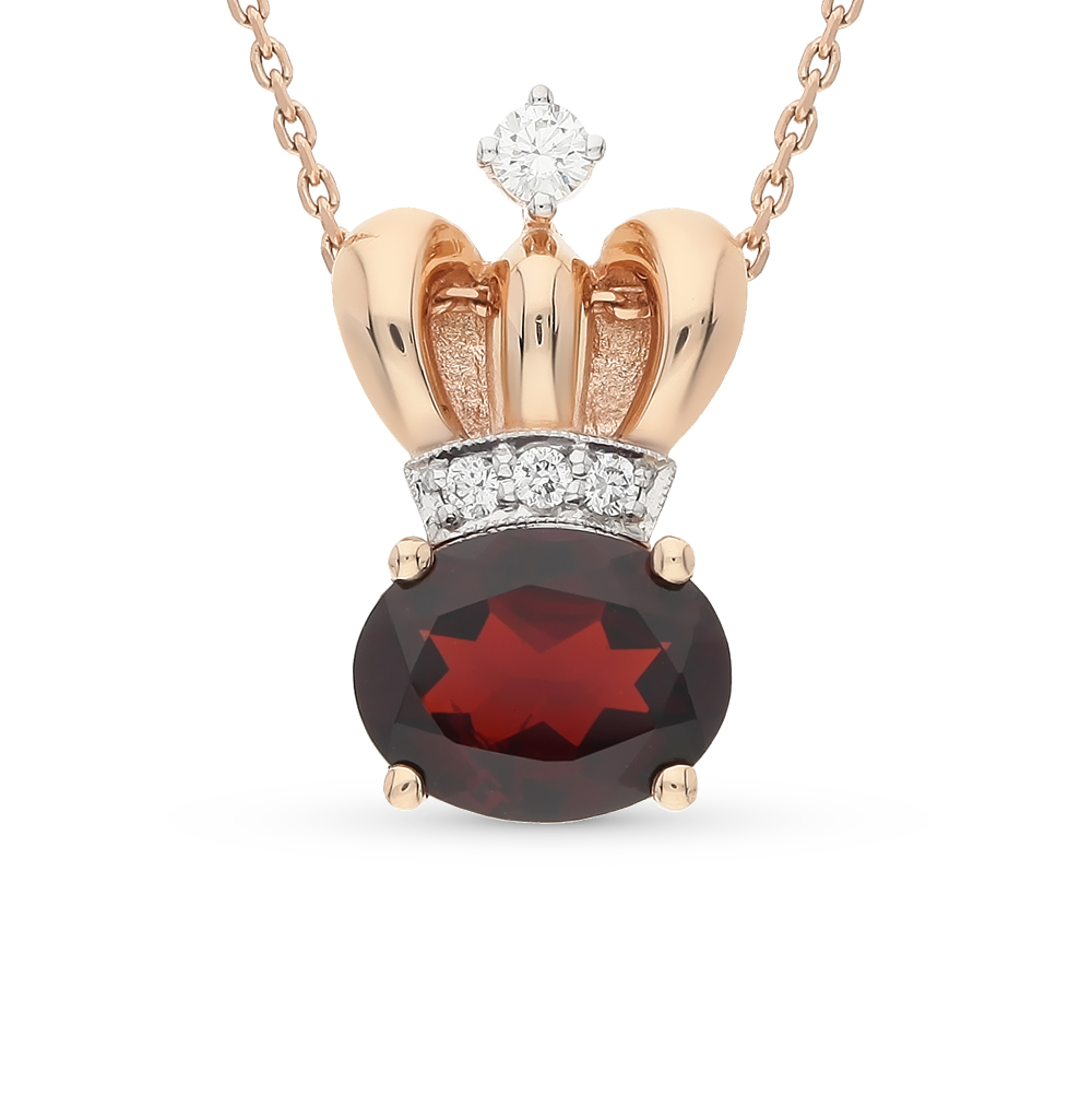 Фото «золотая подвеска с гранатом и бриллиантами»