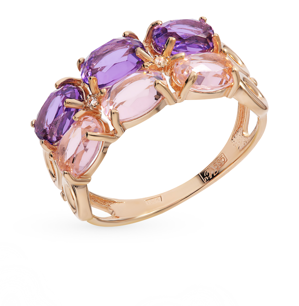 золотое кольцо с аметистом, морганитами и фианитами