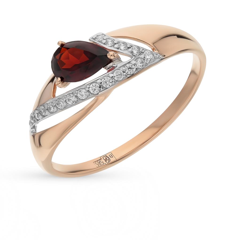 золотое кольцо с фианитами и гранатом SOKOLOV 714675*