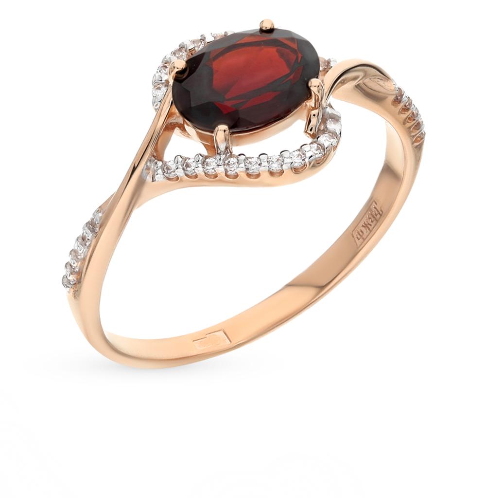 Фото «Золотое кольцо с фианитами и гранатом SOKOLOV 713838*»