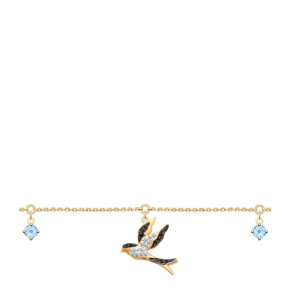 Золотой браслет с топазами и фианитами SOKOLOV 750281* в Екатеринбурге