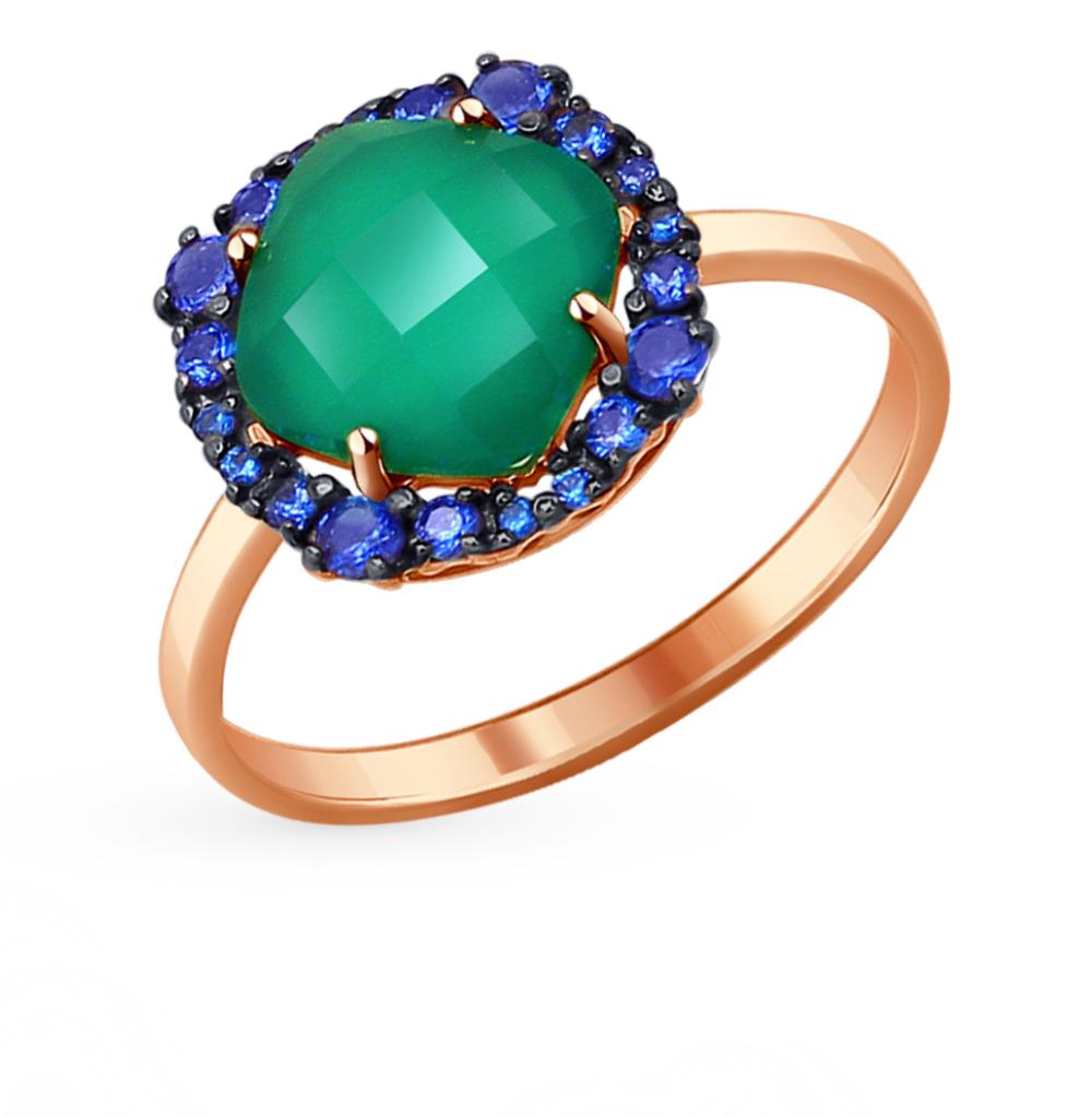 золотое кольцо с корундом и агатом SOKOLOV 714130*