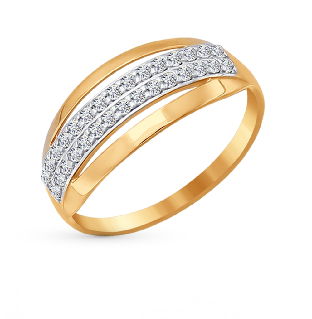 золотое кольцо с фианитами SOKOLOV 016753*
