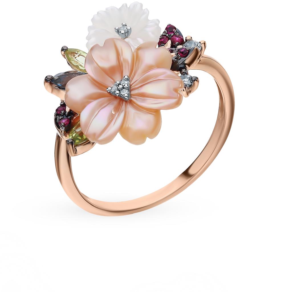 золотое кольцо с рубинами, сапфирами, хризолитом, топазами, перламутром и бриллиантами