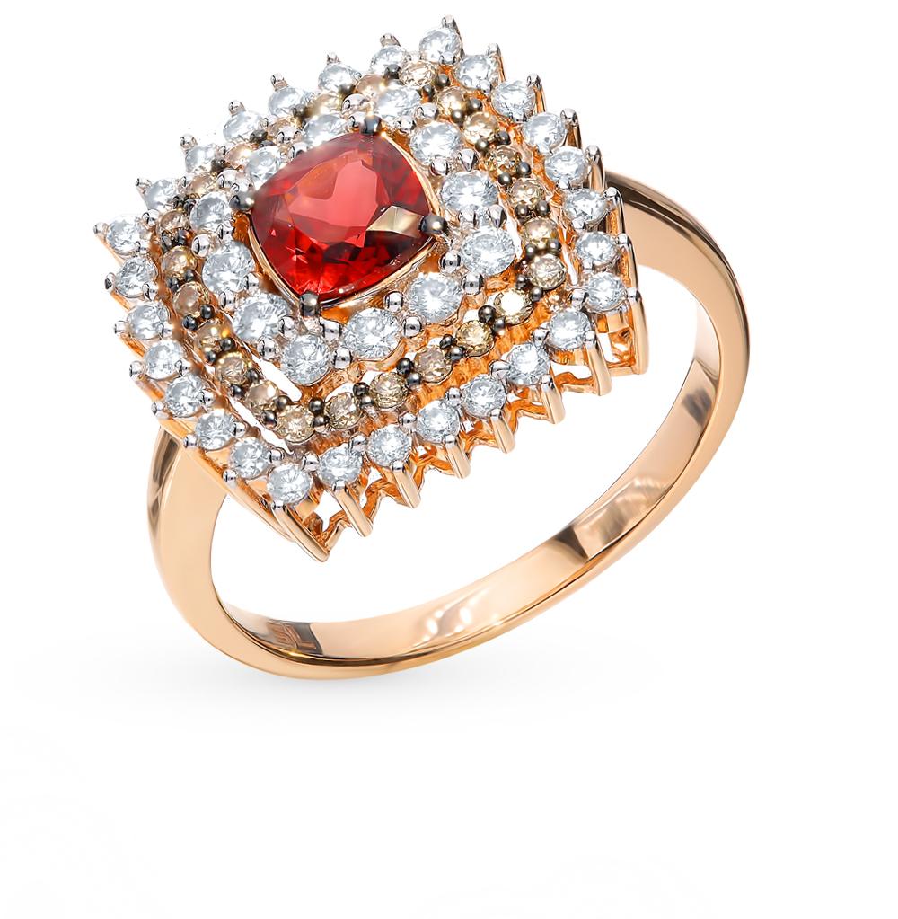 Фото «Золотое кольцо с коньячными бриллиантами, гранатом»