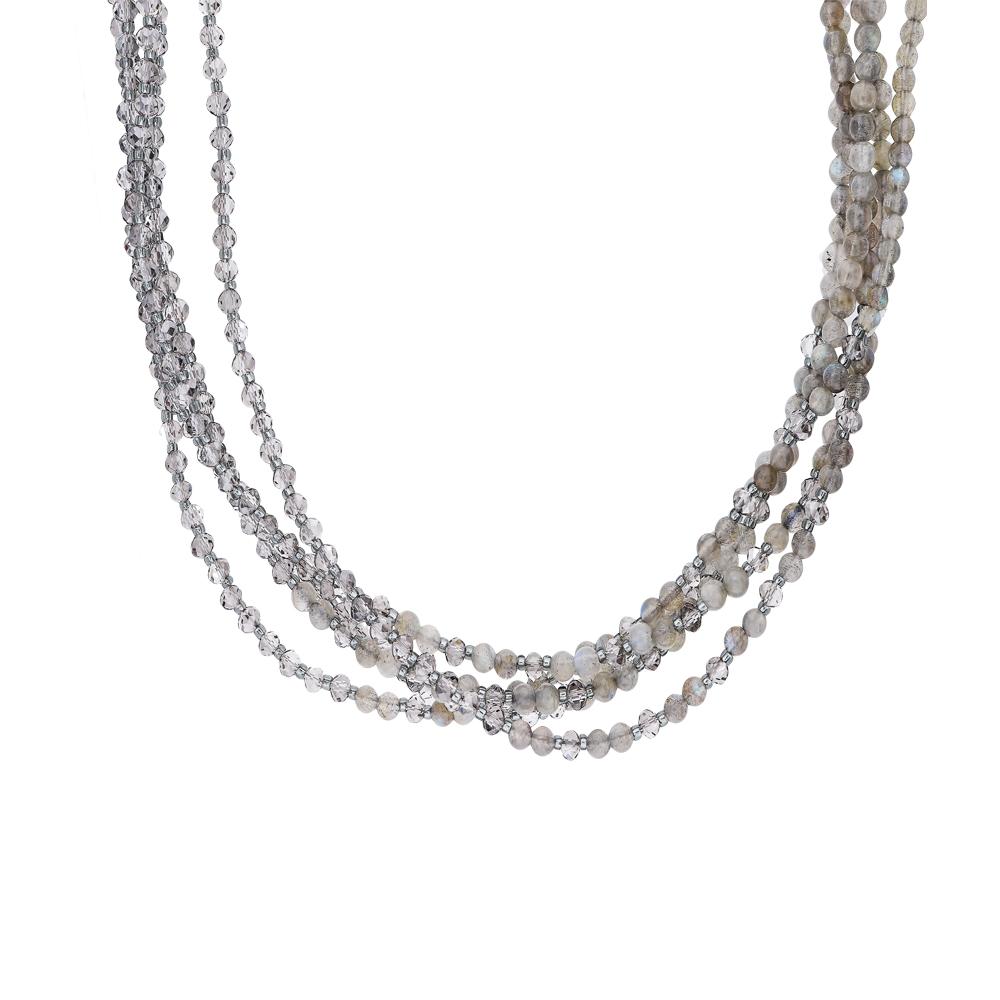 Фото «Шейное украшение со сталью, со стеклом, серебром и кварцем»