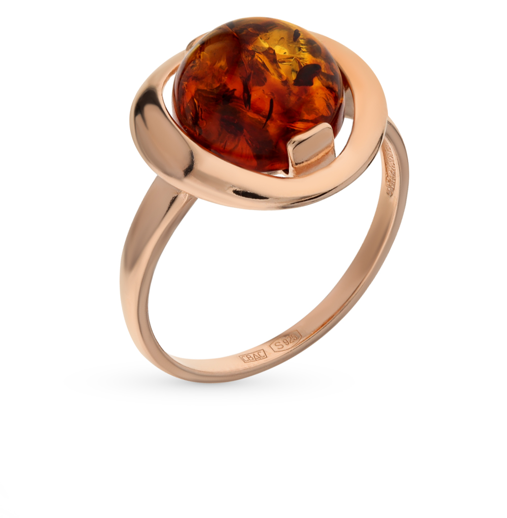 серебряное кольцо с янтарем SOKOLOV 93010513